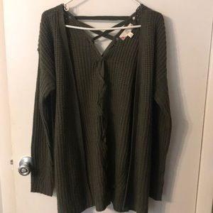 Forest Green Lace Back Sweater